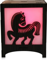 Saibhir Little Pony Table Lamp (15 Cm, Wooden Brown)