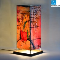 ExclusiveLane Canvas Handpainted Standing Bal Ganesha 15 Inch Table Lamp (16.6 Inch, Multicolor)