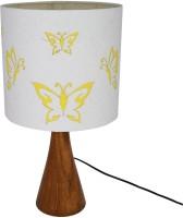 Craftter Flying Butterfly Designer Wooden Base Table Lamp (47 Cm, White)