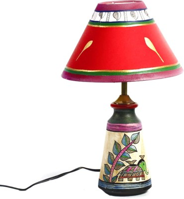 Aapno rajasthan elephant motif terracotta base with fabric for Table lamp flipkart