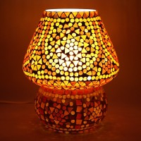 EarthenMetal Handcrafted Red Coloured Crystal Dome Shaped Glass Table Lamp (17 Cm, Red, White)