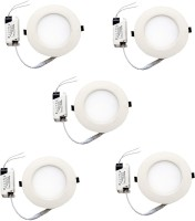 AE 6w Round Panel Light Pack Of Five Pieces Ceiling Lamp (2.8 Cm, White)