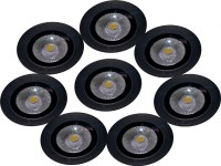 EPSORI 16 Watt Round Water Proof White Anox Led Flood Light Set Of 8 Night Lamp (10 Cm, Black)