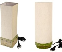 ExclusiveLane Combo Of Wooden Table Lamp (35.6 Cm, Light Green, White)