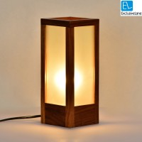 ExclusiveLane 10 Inch Modern Frosted Glass In Sheesham Wood Table Lamp (10 Inch, Brown)