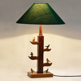 ExclusiveLane Wooden Engraved Parrots Sitting On Tree Of Life Table Lamp