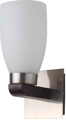 LeArc Contemporary Glass Metal Wood Wall Light WL1421 Wall Lamp (27 Cm, White)
