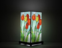 9 Gifts Glass Painting Print Table Lamp (30 Cm, Light Blue)