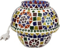 EarthenMetal Handcrafted Traditional Shaped Mosaic Design Multi-coloured Glass Table Lamp (14 Cm, White, Multicolor)