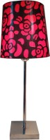 Diya Designs Silver Chrome Finsh With Dimmer And Red & Black Shade Table Lamp (32 Cm, Multicolor)