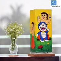 ExclusiveLane Chota Bheem & Doraemon Canvas Handpainted Table Lamp (16.7 Inch, Multicolor, Brown)