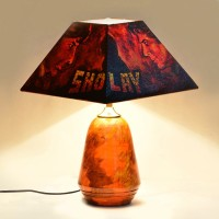 ExclusiveLane 14 Inch SHOLAY Bollywood Blockbuster Canvas Handpainted Lamp Table Lamp (13.9 Inch, Multicolor)