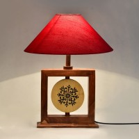ExclusiveLane Wooden Engraved Modern Table Lamp (36.322 Cm, Brown, Red)