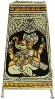 Toygully Hand Painted Ganesha On Leather Table Lamp (23 Cm, Multicolor)