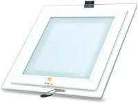 Ekka 9w Led Recessed Glass Slim Panel Light (Square) Ceiling Lamp (2 Cm, Orange)