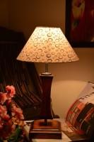 Yashasvi Yashasvi Grooves Wooden Table Lamp Table Lamp (45 Cm, Multicolor)