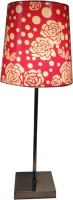 Diya Designs Silver Chrome Finsh With Dimmer And Red & White Shade Table Lamp (32 Cm, Multicolor)