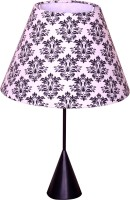 Craftter Rajwada Booti White And Black Metal Base Table Lamp (56 Cm, White, Black)