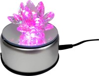 Starstell.com Pink Crystal Lotus Flower With 4 Led Light Stand Turntable Rotating Table Lamp (10 Cm, Multicolor)
