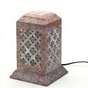 Aapno Rajasthan Pillar Shaped Stoneware Night Lamp Table Lamp - Brown