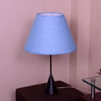 Craftter Textured Skyblue Metal Base Table Lamp (56 Cm, Blue)