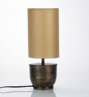 COURTYRADS Courtyard Banaras Antique Base Table Lamp With Gold Brocade Shade Table Lamp (34 Cm, RED)