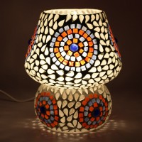 EarthenMetal Handcrafted Natural Coloured Crystal Decorated Dome Shaped Glass Table Lamp (17 Cm, White, Red)