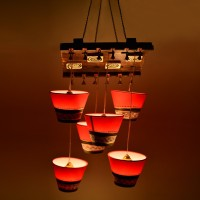 ExclusiveLane Handcrafted Hanging Shade Chandlier Night Lamp (96 Cm, Brown, Red)