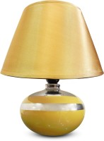 Calmistry Golden Mustard Ceramic Table Lamp (27.5 Cm, Multicolor)