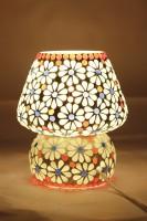 Glitz Tiffany Hand Made Ethnic Style (White Flower) Table Lamp (16 Cm, Multicolor)