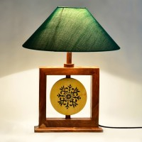 ExclusiveLane Wooden Engraved Modern Table Lamp (36.322 Cm, Brown, Green)