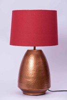 COURTYARDS Stupa Lamp Table In Copper Base With Red Shade Table Lamp (38 Cm, Red)