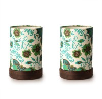 ExclusiveLane Set Of 2 Shesham Wooden Decorative Table Lamp (19 Cm, Multicolour) - TLPEG338NZPFHZQH