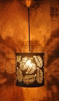 Logam Oak Leaf Black & Gold Round Hanging Light Ceiling Lamp (25 Cm, Black, Gold)