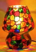 Brahmz Sparkling Glass Table Lamp Table Lamp (17.5 Cm, Multicolor)