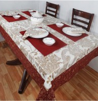 Heritagefabs Goldline Organic Cotton Table Linen Set White, Pack Of 9