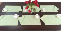 Milano Home Green, White Organic Cotton Table Linen Set Pack Of 12