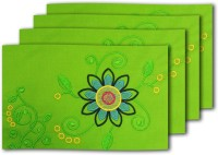 MeSleep Green Flower Table Placemat (Pack Of 4)