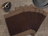 Dekor World Rectangular Pack Of 6 Table Placemat Brown, Polyester