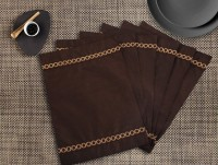 Dekor World Rectangular Pack Of 6 Table Placemat Brown, Polyester - TPMEHY542ENH3GX8