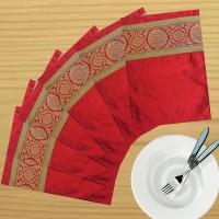 Dekor World Zari Floral Brocket Pack Of 6 Table Placemat Maroon, Polyester