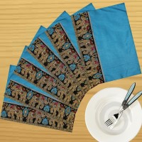 Dekor World Zari Elephant Brocket Pack Of 6 Table Placemat Blue, Polyester