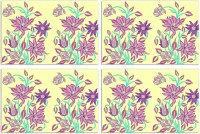 MeSleep Yellow Floral Pack Of 4 Table Placemat Multicolor, Polyester