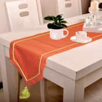 Lushomes Maroon 180 Cm Table Runner Cotton