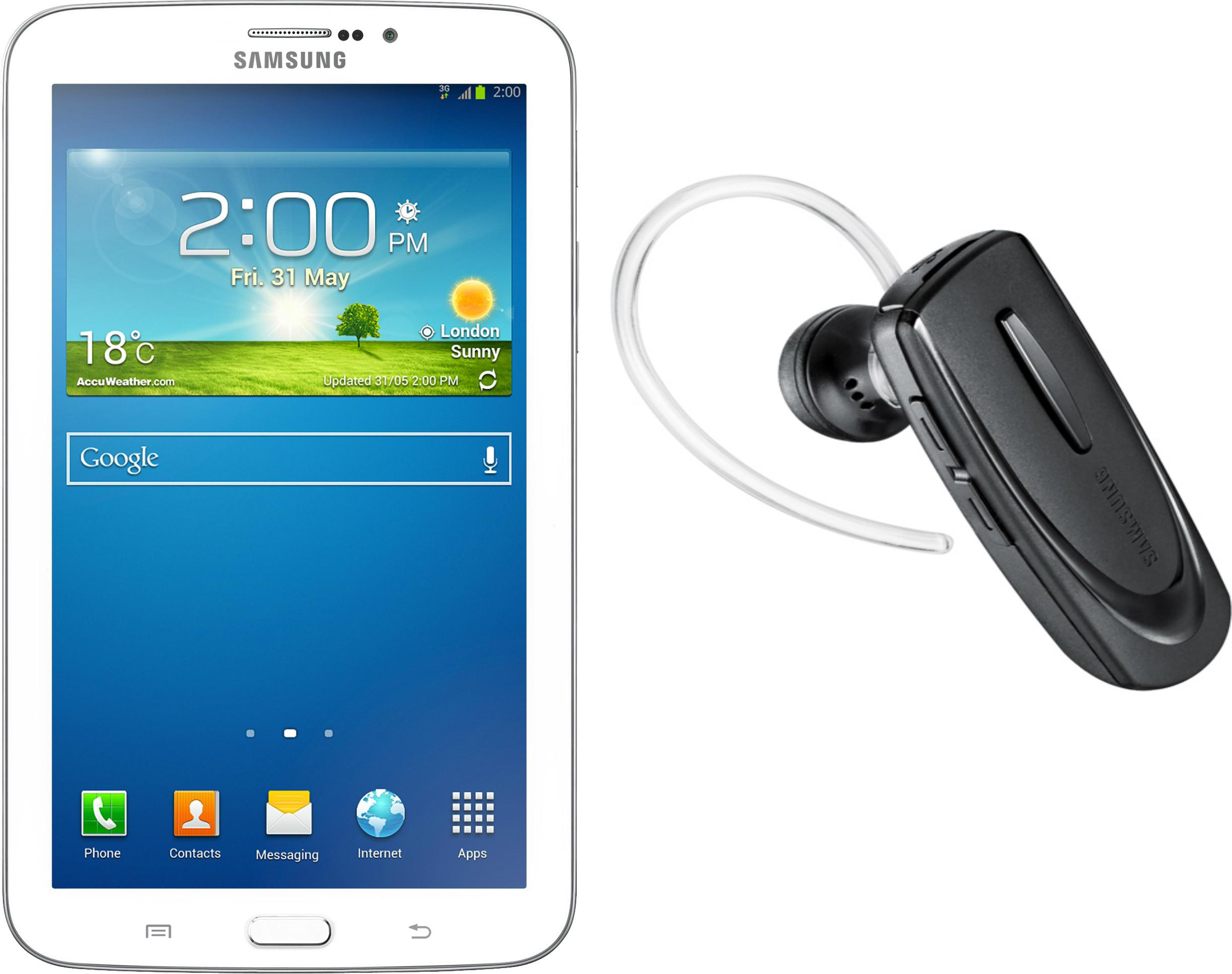 Samsung Galaxy Tab 3 T211 Tablet White, 8 GB, Wi-Fi, 3G, Bluetooth Headset