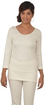 Lux Inferno White 3 Quarters Round Neck Long Women's Top
