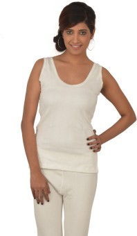 Lux Inferno White Slips Round Neck Women's Top