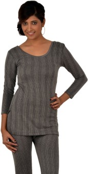 Lux Inferno Charcoal Melange 3 Quarters Round Neck Long Women's Top