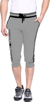 Pro Play Grey Solid Men's Three Fourths