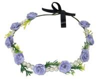 Muren Pearls & 7 Flowers-pur Crown & Tiara (Purple, Pack Of 1)